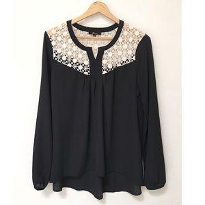 Monteau Black Long Sleeve Lace Blouse